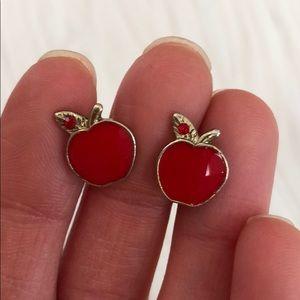 Red apple stud earrings